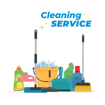 Products Cleaning service in white blackboard - Vector