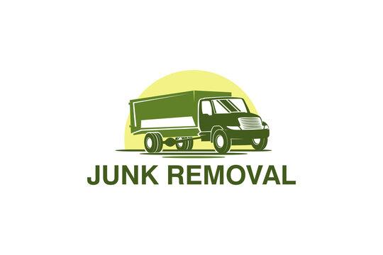 Junk removal logo design, environmentally friendly garbage disposal service, simple minimalist design icon. dump truck icon.