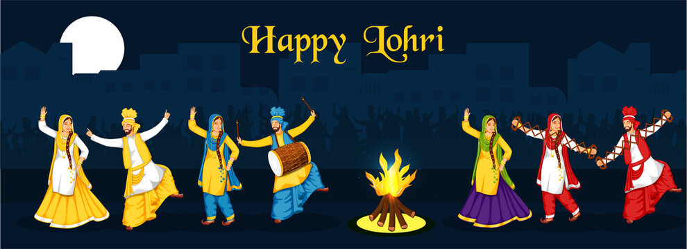 Punjabi People Doing Bhangra Dance With Music Instruments And Bonfire On Blue Full Moon Background For Happy Lohri Celebration.