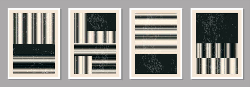 Minimal 20s geometric design poster set, vector template with primitive shapes