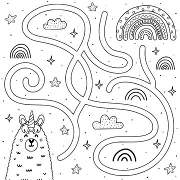 help llamacorn get to rainbow black and kids coloring page line art illustration vector