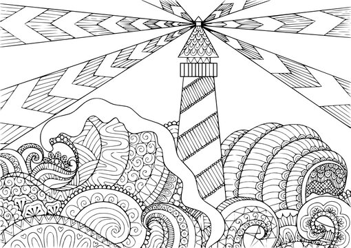 seascape line art design kids coloring page line art illustration vector