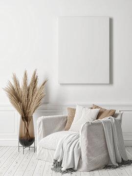 Mockup poster, cozy interior Scandinavian design, 3d render, 3d illustration