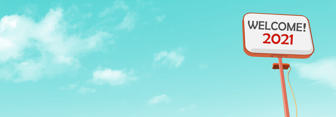 Welcome2021. Realistic cloud and sky vector graphic image. background, web banner, web header, footer, flier, blue, sky, sunny, frame, copy space, vector illustration, copy space, blank, billboard,