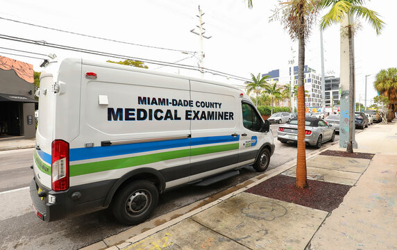 Medical Examiner's van parked at a crime scene at Wynwood Art District in Miami, Florida, USA.