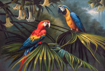 Two large bright parrots sitting on a branch in the jungle. Oil painting