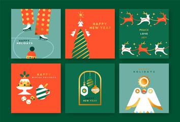 Christmas New Year retro gold folk decoration set