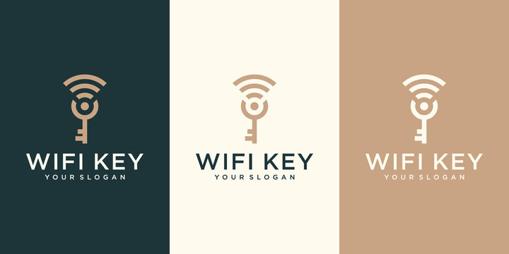 MobilIllustration of wifi key logo design template. combination of wifi and keys