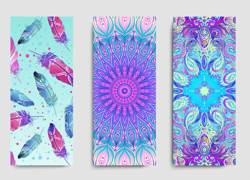Yoga card, flyer, poster, mat design. Colorful template for spiritual retreat or yoga studio. Ornamental business cards, oriental pattern. Vector illustration