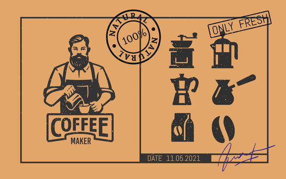 Barista logo with coffee icons in vintage style with stamps