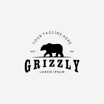 Bear Hunter Logo Vector Design Illustration Vintage, Grizzly Bear, Polar Bear, Black Bear