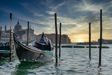 A gondola tied up in venice