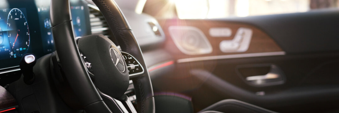 Orzesze, Poland - 01.12.2020: Luxury Mercedes GLE - streering wheel in cabin finished with real wood and leather