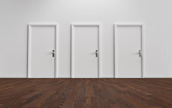White wall with three closed doors and wooden floor