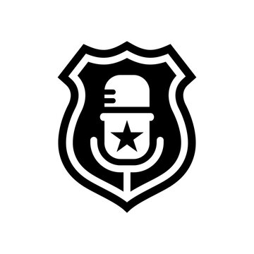 Police badge vector icon illustration combined with mic icon on white background