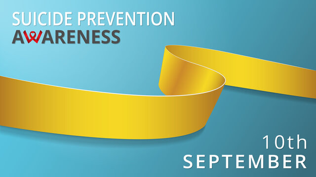 Realistic yellow ribbon. Awareness suicide prevention month poster. Vector illustration. World suicide prevention day solidarity concept. 10th of september.