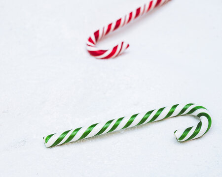 christmas candy cane in the snow