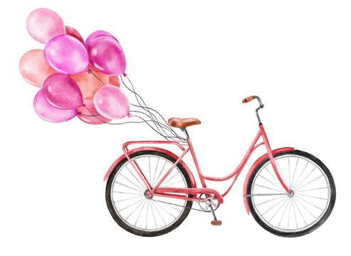 A bicycle with a basket of hearts and balloons in the shape of a heart. Valentine's day and love.  Illustration for a postcard or a poster.