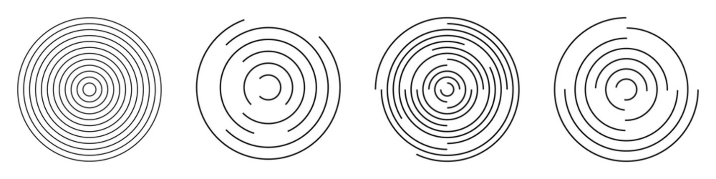 Set of abstract linear circles. Decorative vector elements.
