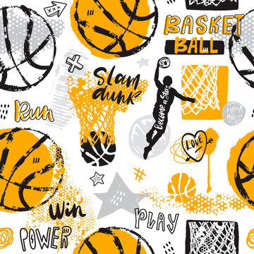 Hand-drawn basketball seamless pattern. Sports background with text, ball, hoop for a boy. Sport print, typography slogan. Print design for T-shirts.