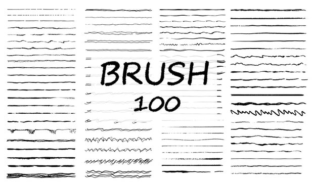 Big set of hand drawn line borders, scribble strokes and design elements isolated on white. Set of art brushes for pen. Hand drawn grunge brush strokes. Vector illustration