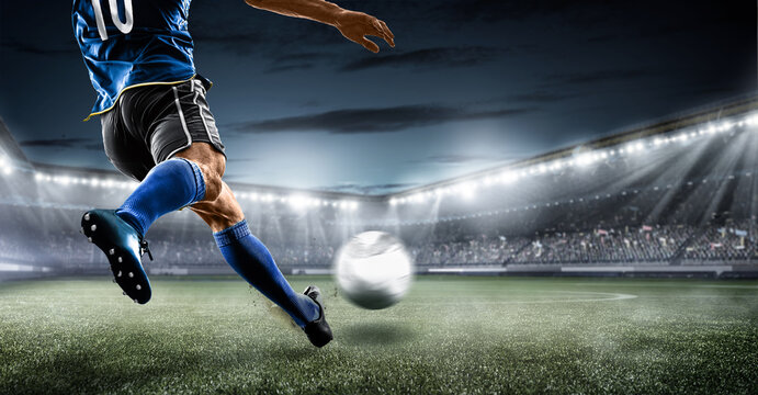 football soccer player kicking in action in blue team euro cup, nations cup ,world cup ,France ,Brazil ,Italy