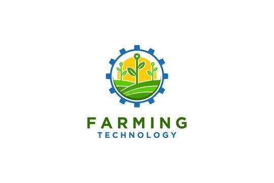 Farming technology logo design, seed plant farmland, cog wheel gear industrial icon. Nature environment.