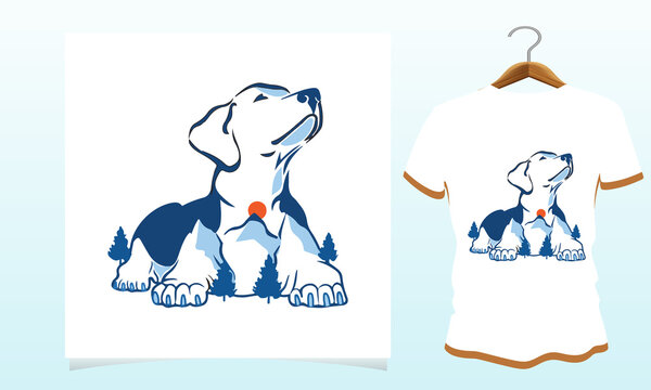 Mountain dog vector t-shirt design, Dog t shirt Vector Graphics to download