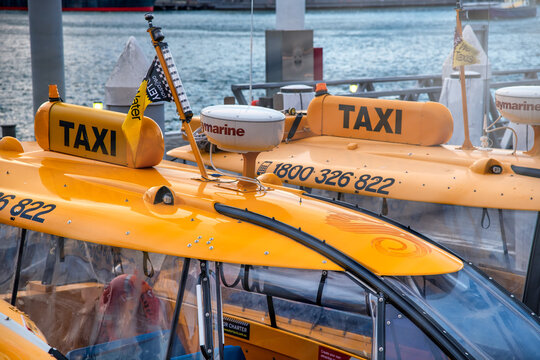 SYDNEY, AUSTRALIA - AUGUST 19, 2018: Water taxis in Darling Harbour