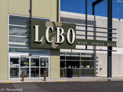 Toronto, Canada - May 20 2019: LCBO store front in Toronto. The Liquor Control Board of Ontario (LCBO) is a Crown corporation that retails and distributes alcoholic beverages.