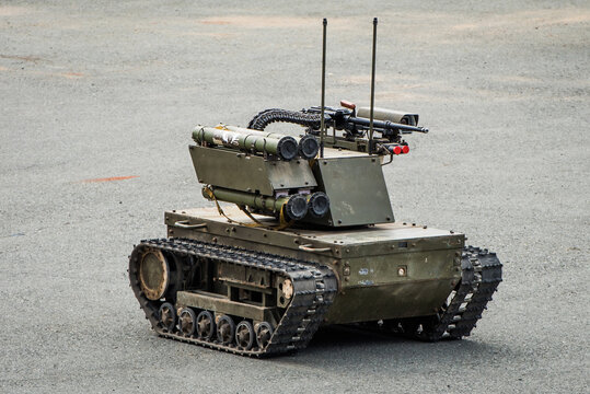"""Vladivostok, Russia -  July 25, 2016: Exhibition of the equipment of army of Russia. """"Platform-M""""  combat robot which can be used both for patrolling and attacks."""