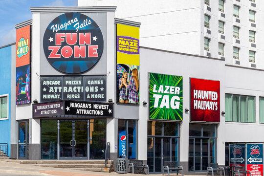 Niagara Falls,  Ontario, Canada - September 3, 2019: Entrance of Niagara Falls Fun Zone in Niagara Falls, Ontario,  the attraction featuring Lazer Tag, Mirror Maze, Haunted Tunnels, Virtual Reality