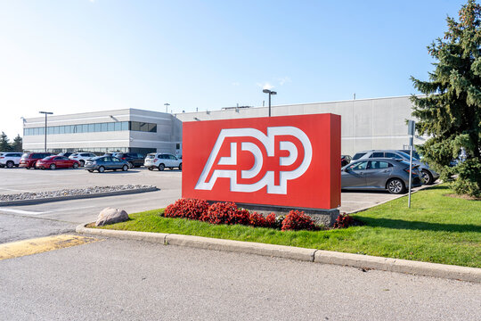 Mississauga, Ontario, Canada - October 23, 2019: ADP office in Mississauga, Ontario. Automatic Data Processing is an American provider of human resources management software.