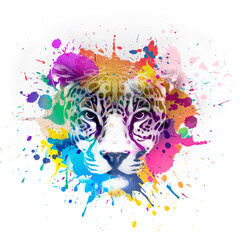 hand drawn tiger with colorful splashes