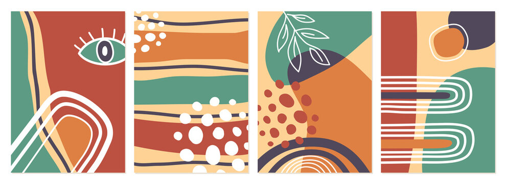 Set of colorful retro abstract book cover vector backgrounds