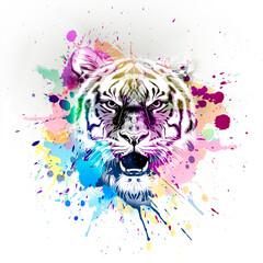 tiger head with a tattoo