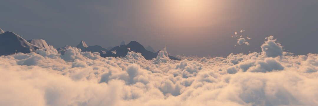 Over the clouds at dawn, sunset over the clouds,, panorama of the clouds, 3D rendering