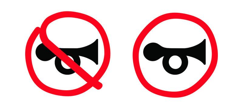 Traffic, drawn claxon board. Stop, halt allowed no horn sign. Don't honk zone icon. No sound symbol. Vector honking area symbol. Forbidden, prohibition warning symbol.