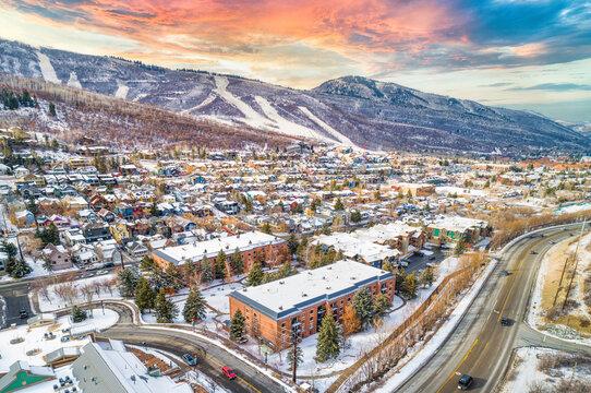 Park City, Utah, USA Downtown Aerial