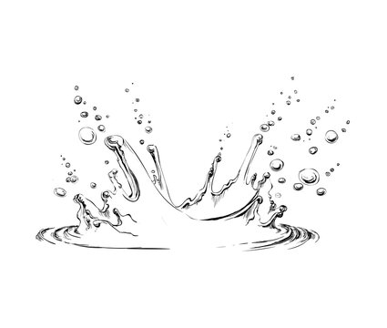 Hand drawn water splash vector illustration