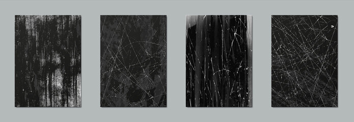 Scratch texture. Realistic grunge elements with battered effect, black surface with worn paint and overlay white lines. Old rough background for vintage posters or advertising, vector set