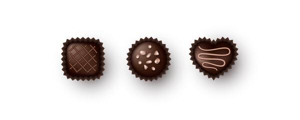 Fototapeta Set of chocolate candies. Isolated on white background. Vector illustration. obraz