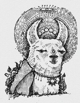 Ink hand drawn doodle alpaca or llama.