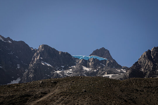 horizontal landscape of the El Morado glacier in Cajon del Maipo Chile in high mountains