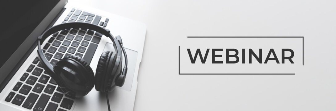 Webinar online, e-learning concept with headset