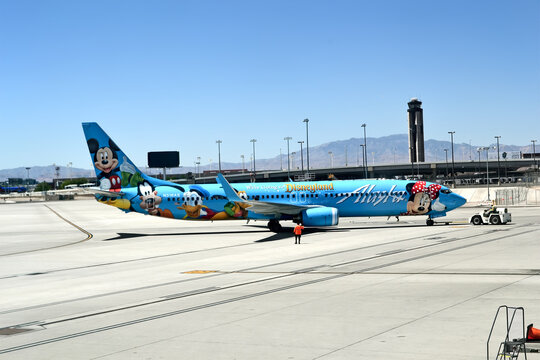 Alaska Airlines in McCarran international airport on April 17,2015 in Las Vegas, USA. Airport was found in 1942, now has more than 1234 slot machines inside the airport terminals.