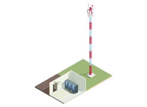 Cell tower base station isolated isometric illustration