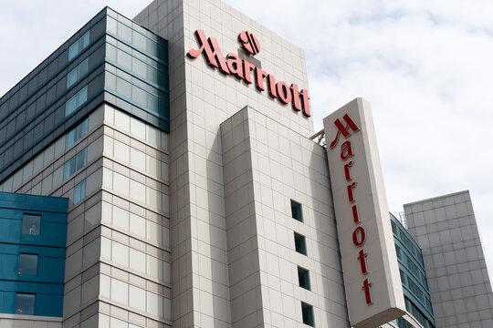 Niagara falls, Ontario, Canada - May 27, 2019: Marriott sign on the building. Marriott International is an American hospitality company.