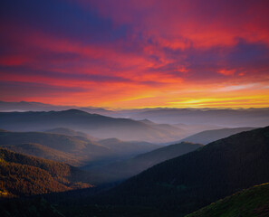 Attractive evening landscape illuminated by the sunset. Carpathian mountains, Ukraine, Europe.
