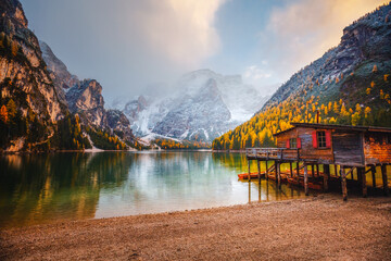 Wall Mural - Attractive view of most famous alpine lake Braies (Pragser Wildsee).